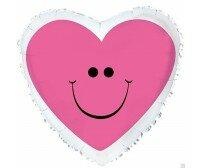 """Сердце розовый смайлик с белым ободком 17"""""""